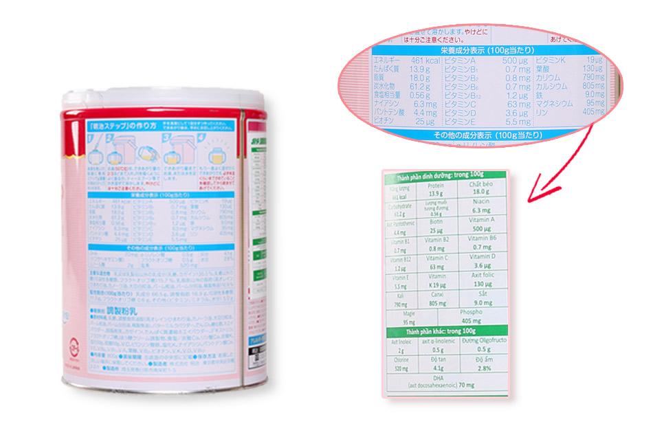 Bảng thành phần của sữa được viết hoàn toàn bằng tiếng Nhật nên sẽ có một bản tiếng việt được dán trên hộp