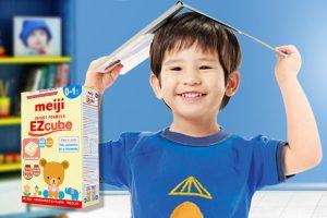 Sữa Meiji Infant Formula EZcube giúp hỗ trợ phát triển tris não, chiều cao, cân nặng ở trẻ.